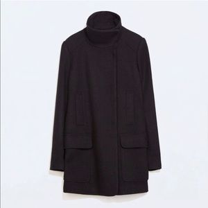 NWT ZARA BLACK PEACOAT [Medium]